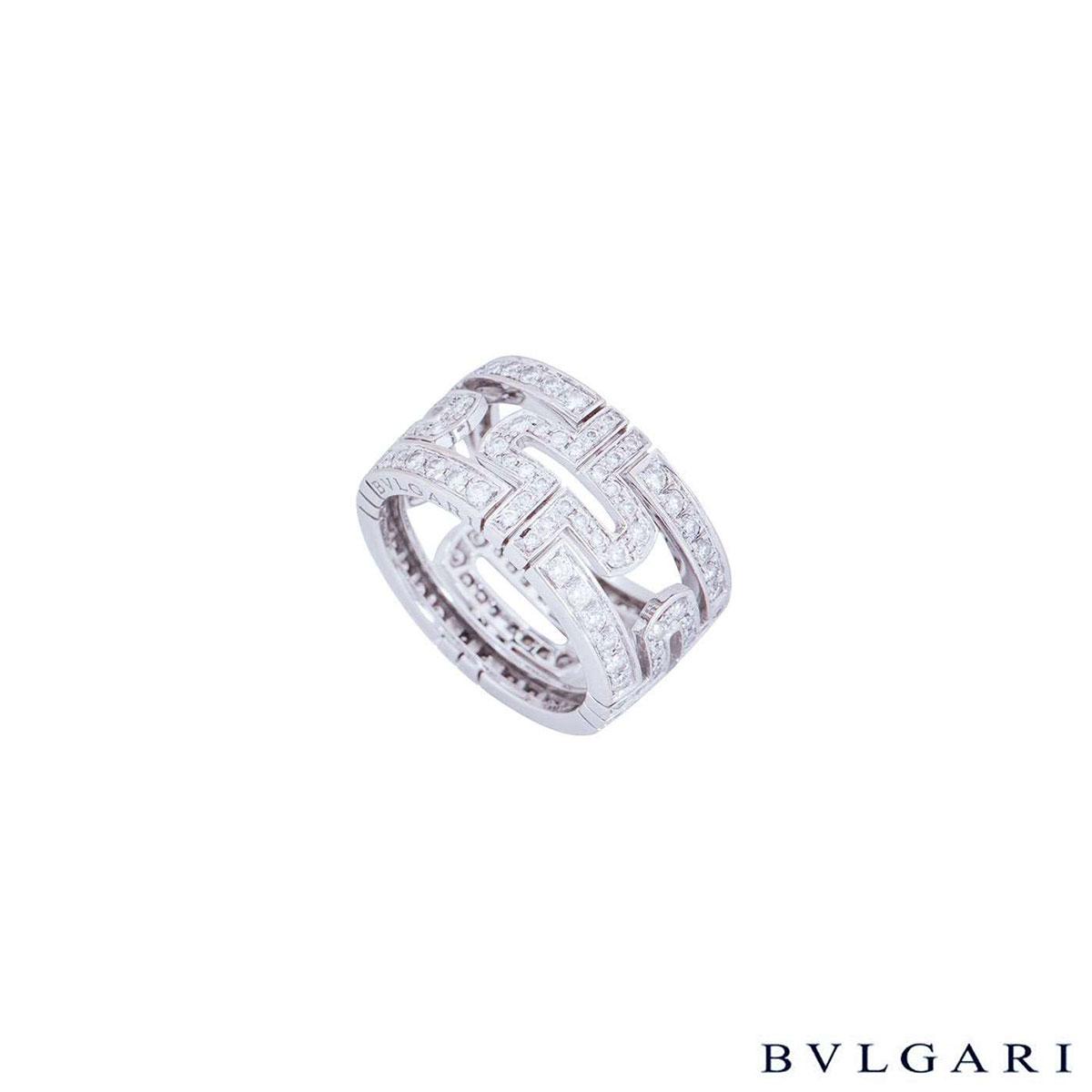 Bvlgari White Gold Diamond Set Parentesi Ring